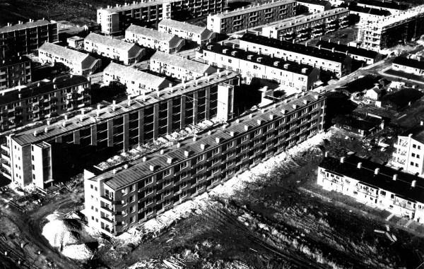 luchtfoto van het wijkoverzicht van de zierikzeebuurt in vroegere tijden