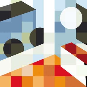 Kunstwerk met grafische geblokte vormen gebruikt in de gebouwen van de zuiderdiep gemaakt door Stang gubbels