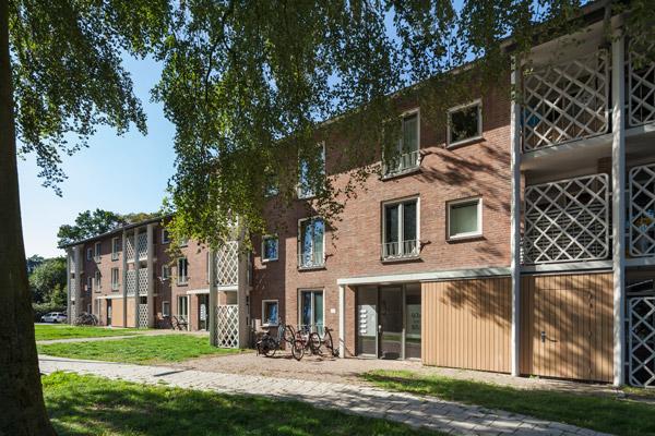 zijaanzicht van een van de gerenoveerde gebouwen in de ganskuijl in amersfoort met veel begroeiing in de omgeving en fietsen voor de entree